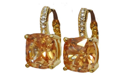 Kate Middleton Jewelry : Citrine Square Gold Crystal Earring