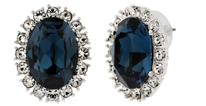 Princess Diana Jewelry : Inspired Sapphire Diamond Crystal Earrings