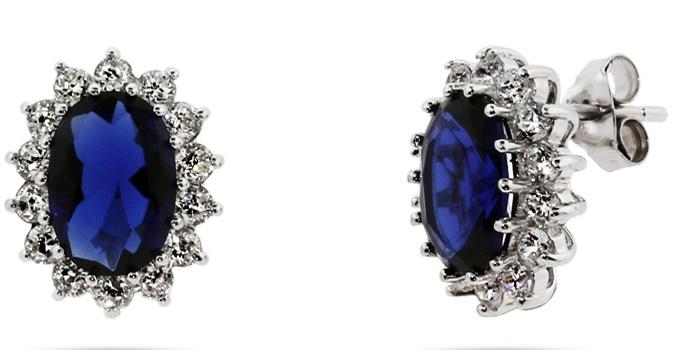 Princess Diana Jewelry : Sapphire And Diamond Royal Earrings